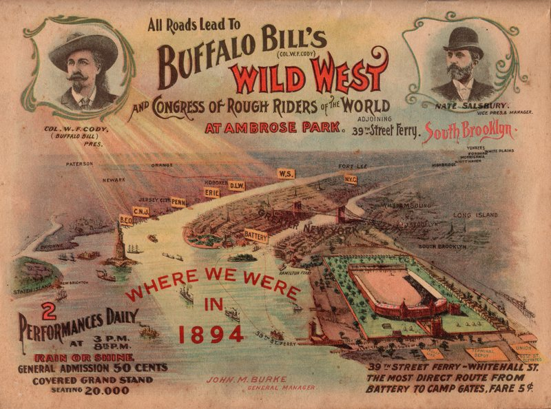 Image for Buffalo Bill's Wild West Show 1895 18 x 24 Poster New York City Brooklyn