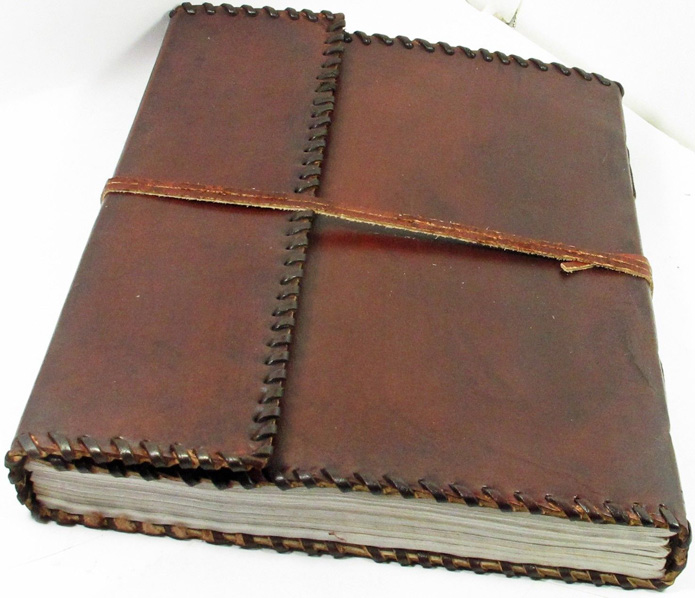 "Image for Handmade Leather Journal with lace Edge 10"" x 12"" 100% Cotton Paper"
