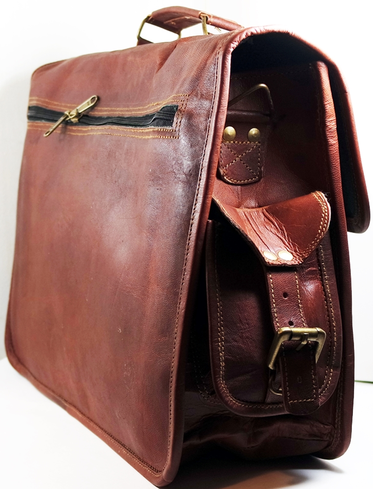 "Image for Deluxe 15"" Rustic Leather Briefcase Messenger Bag Abundant Pockets Barner Books"