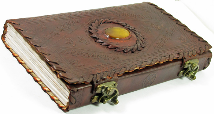 Image for Handmade Leather Journal with Two Brass Latches, Center Stone and Lace Edges by David Friedman