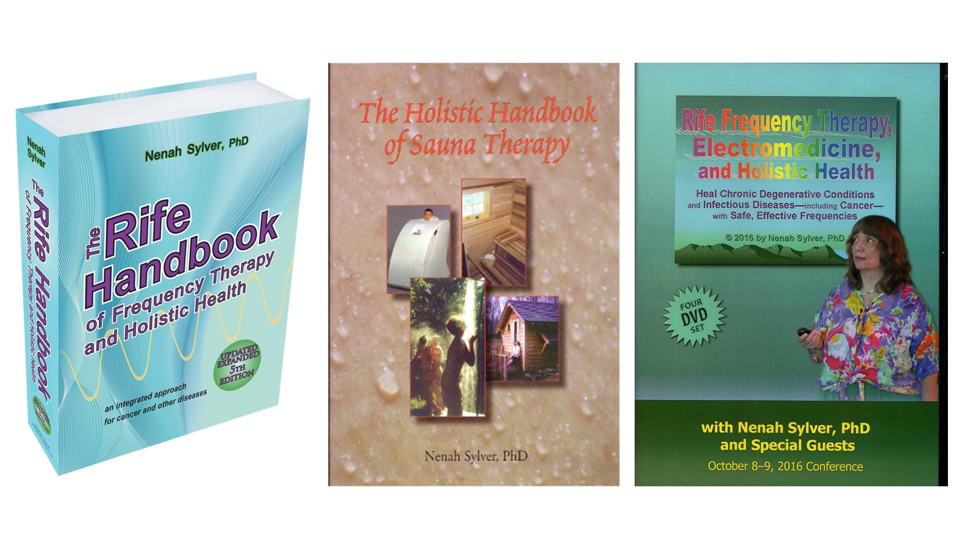 Image for Rife Frequency Healing Book 5th Edition; Holistic Handbook of Sauna Therapy; Rife Therapy Course, a 4-DVD Set - 3 Pack BUNDLE - SPECIAL SALE