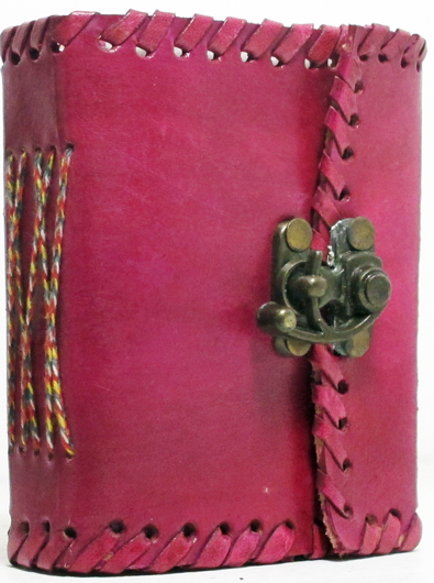 Image for 3x4 Handmade Paper and Leather Pink Latch Journal with Brass Clasp