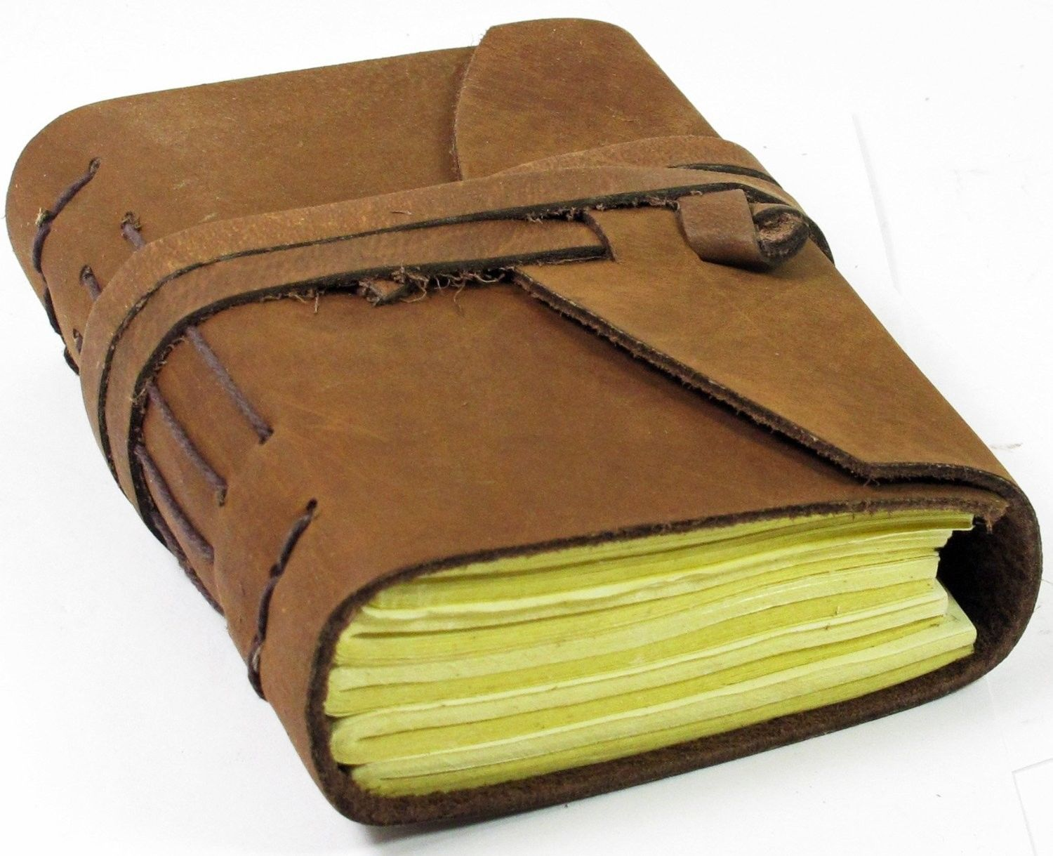 Image for Luxury Leather Journal Finest  Leather And 100% Cotton Handcrafted Paper - finest leather A6 Brown