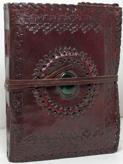 Image for 5x7 Handmade Leather Embossed Journal with Center Stone and Laced Edges