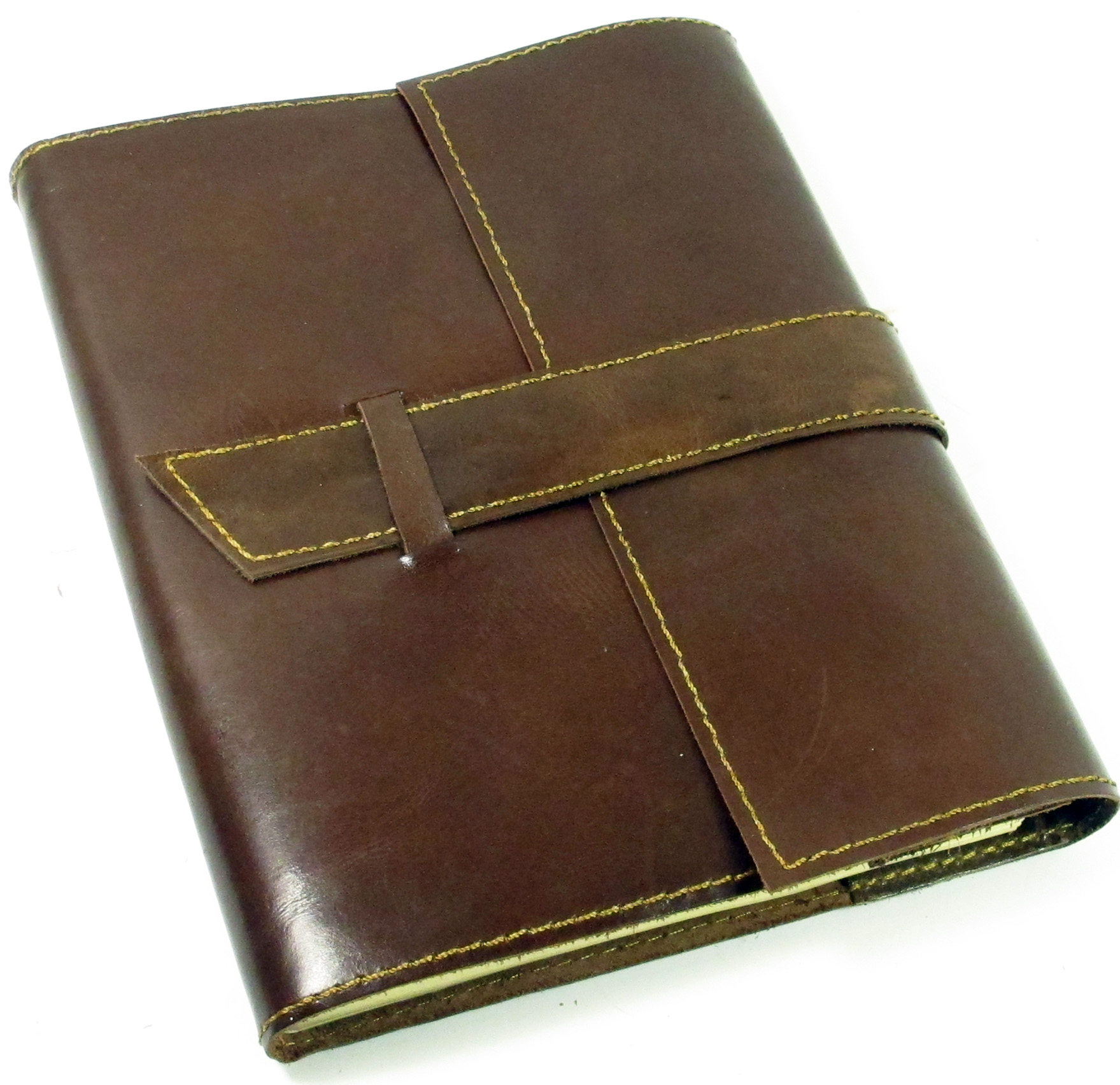 "Image for Handmade Leather and Paper Refillable Journal 8"" x 6"" - Saddle Brown"