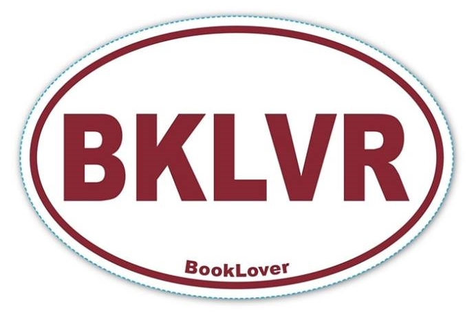 Image for BKLVR Euro Style Vinyl Sticker - BookLover (Book Lover) with Maroon Letters on a White Background