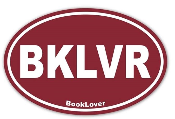 Image for BKLVR - Booklover (Book Lover) Vinyl Sticker Euro Bumper Sticker (White Letters on Maroon)