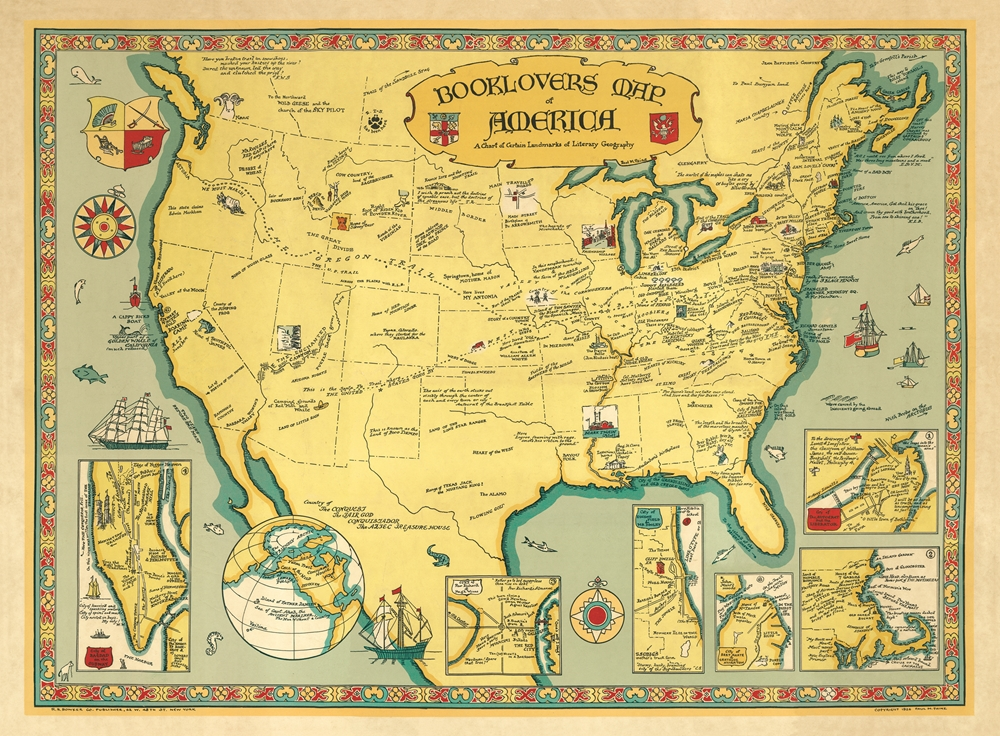 Image for Booklovers Map of America.    A Chart of Certain Literary Geography  PICTORAL MAP Facsimile