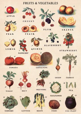 "Image for Cavallini Decorative Paper - Fruits and Vegetables 20""x28"" Sheet"