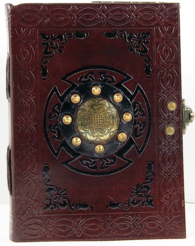 Image for Handmade Paper Brown Luxury Leather 5 x 7 Paper Journal with Brass Medallion
