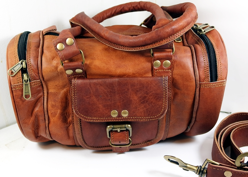 Image For 12 Leather Boho Style Mini Duffle Bag With 4 Pockets Handles And