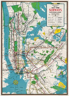 "Image for Cavallini Decorative Paper - New York City Subway Map 20""x28"" Sheet"