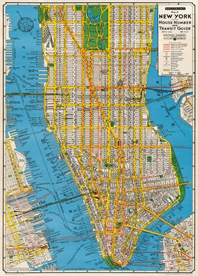 Image for Cavallini & Co. New York City Map Decorative Decoupage Poster Wrapping Paper Sheet