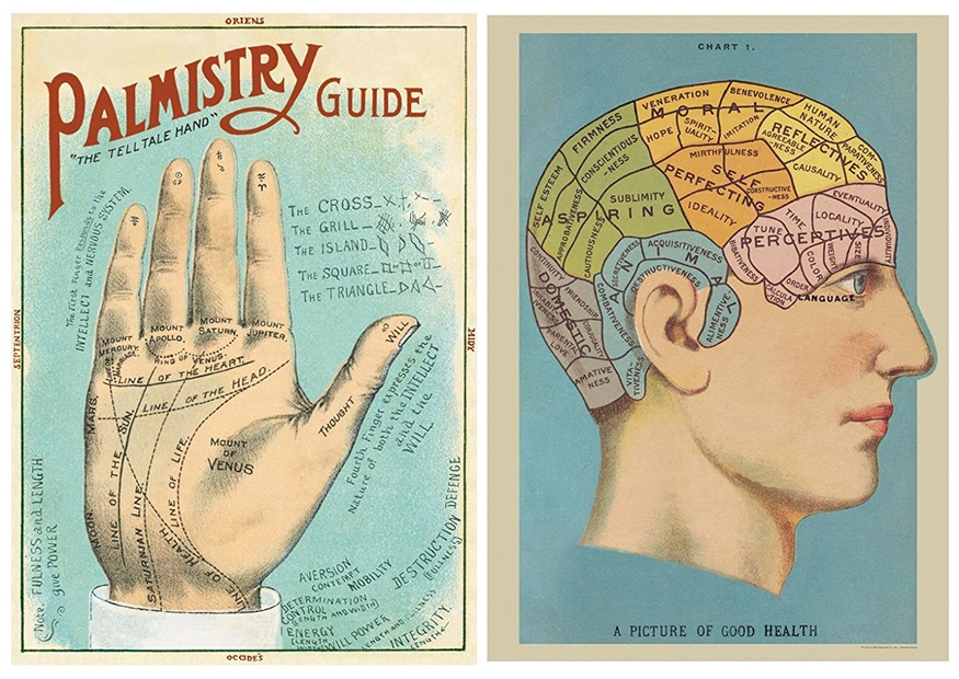 "Image for Phrenology and Palmistry Poster Pack of 2 Cavallini Vintage Art Posters/wrap Each 20"" x 28"""