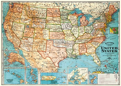 Image for Decorative Wrap 20X28 Usa Map